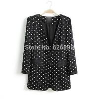 2014 Autumn Women's Fashion Suit Polka Dot Jacket Back And White Slim One Button Blazer CC 29