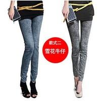 Fashion Women's Stretch Leggings Slim Hip Seamless Sexy Jeggings Snowflake Printing Like Faux Jean Pants 3paris/lot