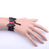 Black lace butterfly ruby stone bracelet ring hand accessories women bracelet and bangles 2014 free shipping