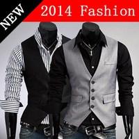 2014 fashion suit vest men waistcoat jacket slim fit fitness v neck cotton blazer masculino summer spring tank tops formal 918LP
