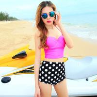 A+++ high waist dot bottom bikinis set vitoria swimwear women secret swimsuit steel supporting halter top - VS 56