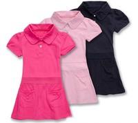 High Quality Pure Cotton Girl Sports Dress Turndown Collar Kids Casual Tennis Cheerleaders Dress Short Sleeved Free Shipping