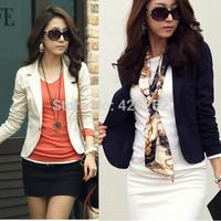 S-XL 2014 New Zanzea Fashion Women Unique Top Design Jacket Coat One Button Long Sleeve Short Suit Blazer Outerwear 4 Color