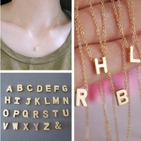 New Fashion DIY 26 Letter Charm Pendant Necklace Women Simple Clavicle Chain Necklace
