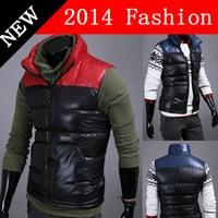 2014 fashion down vest men winter jacket brand clothing sleeveless sport outdoor cotton warm patchwork casual zipper blue 917LP