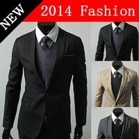 2014 fashion blazer suits for men suit masculino jacket clothing casual slim fit plaid pocket brand winter autumn coat 917LP