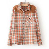 2014 Autumn Women's Casual Cotton Blouse Patchwork Shirt Long Sleeve Lapel Plaid Femininas Blusa CC30