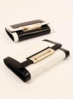 2013 new European and American minimalist OL retro metal buckle long black and white stitching leather lady purse women's wallet