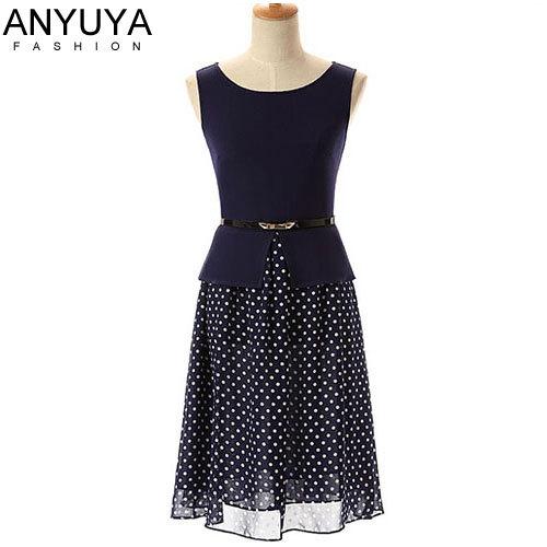 Women Plus Size Casual Dress Ladies Sleeveless Blue Chiffon Summer Dress 2014 Vintage Dot Dresses Vestidos Femininos Belt MX1023(China (Ma