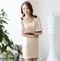 2014 New Autumn Womens Long Tops Dress OL Style Buttons Long Sleeve Slim Basic Casual Dress Plus Size