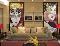 National Peking Opera culture background Mosaic puzzle brick wall of the sitting room sofa TV restaurant gold and silver foil
