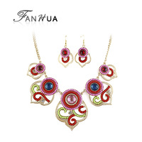 Ethnic Necklace Gold Color Alloy Chain and Red Dangle Earrings Colorful Jewelry Sets for Women
