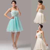 Fashion Strapless Short Bridesmaid Dress Beige,Pale Turquoise Organza Prom Dresses CL6144Y
