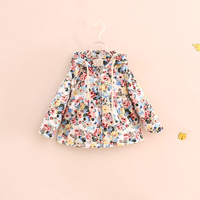 hot sale children girl floral print hooded cotton-padded jackets coats
