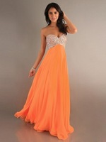 2015 New Model Women Orange Sexy A-Line Sweetheart Crystal Beads Chiffon Long Prom Dress Party Gown Formal Evening Dresses