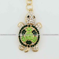 Fashion green tortoise rhinestone crystal Keychain Alloy Key ring Bag purse package car Charm chain jewelry accessories pendant