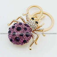 Fashion purple spider rhinestone crystal Keychain Alloy Key ring Bag purse package car Charm chain jewelry accessories pendant