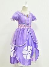 Vestidos Fluffy grandes pétalas Frozen009 2014 varejo grátis frete Frozen sofia princesa meninas vestidos grátis frete(China (Mainland))