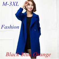 Women Trench Coat With Good Quality Plus Size XXXL Long Woolen Winter Jackets,woolen coat for women Free Shipping LGX6861