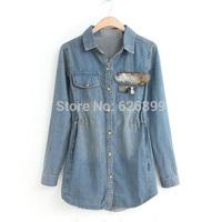 2014 High Quality Women's Denim Blouse Jean Shirt Sequined Decorated Novelty Cowboy Shirt Elatic Waist  CC32