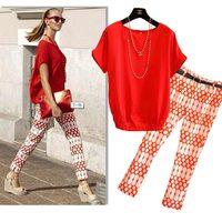 2014 European style women's leisure suit female sportswear Enthusiasm red shirt + printing pants Fashion casual style XXL 3365