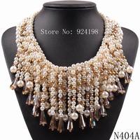 2014 new latest model fashion crystal pendant bib big chunky statement pearl necklace choker collar party elegant jewelry