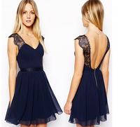 Exclusive Europe / beauty sexy backless Lace Chiffon Dress