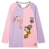HOT! 2014 Autumn Women Harajuku Style Cute Cartoon Naughty Pink Leopard Color Matching Long Sleeve Cotton T-shirt Y-1114