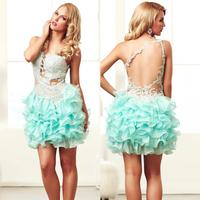 Elegant backless Light Green Organza curtos vestidos para formatura Lxury Crystal graduation dress for party dress to party