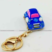 Fashion blue car bus rhinestone crystal Keychain Alloy Key ring Bag purse package car Charm jewelry accessories pendant