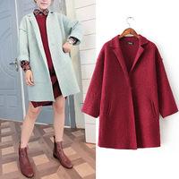 Medium long cocoon woolen coat 2014 NEW wool coat women jacket autumn overcoat girl's warm loose woolen coat women's winter coat