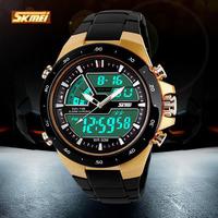 New 2014 SKMEI Brand Men Sports Military Wrist Watch Fashion Casual Dress Wristwatches Dual Time Zone Digital Quartz LED Watches