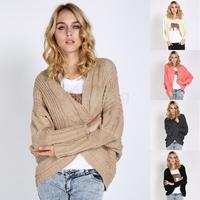 Winter Wool Sweater Coat Casual Girls Knitted Cardigan Women's Loose Bat Sleeve Wool Shawl Coats 5 colors