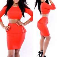2014 New Fashion Womens Celeb 2 Piece Set Crop Top Bodycon Skirt Party Bandage Dress Club Wear Red