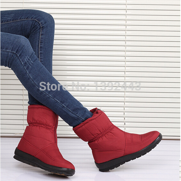 Waterproof non-slip snow boots Winter women cotton shoes Woman boots Flat soft bottom pregnant women boots Mom warm boots(China (Mainland))