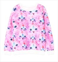 2014 Autumn Women Harajuku Style Cute Cartoon Cat Print Long Sleeve Loose Pullover Sweatshirts Y-1115