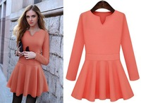 2014 Autumn New Arrival Woman Brief Style Dress, Fashion V-Neck, Pink and Sky Blue fashion Dress, High Quality,Freeshipping