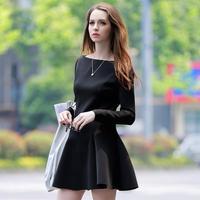 2015 Spring Summer Autumn Winter Long Sleeve Basic Black Dress Long Sleeve Slim Dresses Vestido Plus Size Women Clothing 9939V22