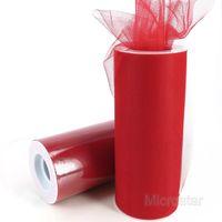 "Free Shipping 6"" 25 Yard 75 Feet Red Wedding Tulle Roll Spool Tutu Party Gift Craft Bow Wrap Birthday Wedding Decoration"