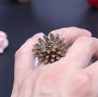 Women's ring.18 k gold plated.Beautiful lotus.Many rhinestone.Wholesale/retail fashion rings.Size: 7;8;9. Free shipping + gifts.