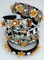 European and American fashion retro Vintage flowers broadside issuing Baroque pearl rhinestone headband hair accessories
