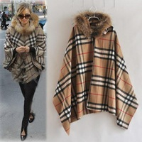 European 2014 Long Sleeve Loose Autumn Covered Button Women's Coats Vintage Plaid Casual Winter Coat 766