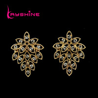 Chandelier Earrings for Women Lady's Wholesale Vintage Style Brincos  Rhinestone Leaf Shape Drop Earrings