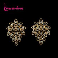 Fashion Dangle Earrings for Women Lady's Wholesale Vintage Style Hollow Out  Rhinestone Leaf Shape Drop Earrings