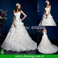 FS-1409181636 Charming Custom Made Sweetheart Appliqued Floor Length Ruffled White Orgzanza Ball Gown Wedding Dresses
