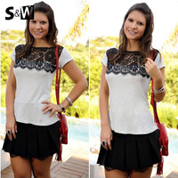 Hot sell all match Black lace and white tops women short sleeve blouse