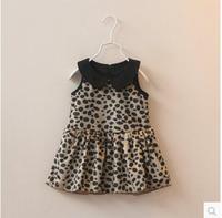 New autumn flower girl's sleeveless dress children's clothing kids princess leopard dress girls clothing