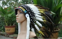 Children Small size Yellow Indian Headdress Chief Warbonnet Fancy Costume Halloween Festival