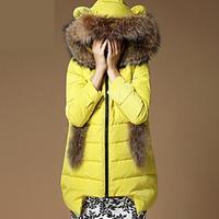 2014 New Fashion women winter jacket Long Style Large fur collar Zipper Slim Thicken Hooded coat Women duck down jacket 5 Colors