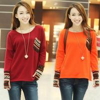Hot Sale Women Clothing New 2014 Fashion Long Sleeve T Shirt  Bottoming Shirt Women Female Sweater Hoodie Size Loose Blouse
